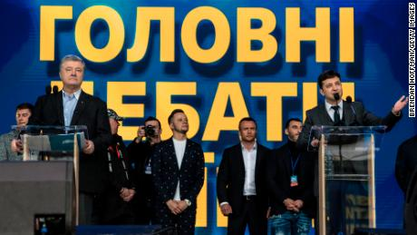 Ukrainian President Petro Poroshenko, left, holds a debate with his electoral opponent Volodymyr Zelenskiy, right, at Olympiskiy Stadium on Friday in Kiev, Ukraine.