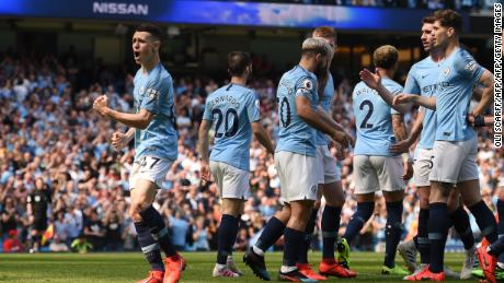 It's the first Premier League goal Phil Foden has scored for City.