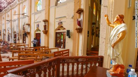 NEGOMBO, SRI LANKA - APRIL 21 : Officials inspect the damaged St. Sebastian's Church after multiple explosions targeting churches and hotels across Sri Lanka on April 21, 2019 in Negombo, north of Colombo, Sri Lanka. At least 207 people were killed and hundreds of others wounded in multiple blasts that hit eight different locations -- including churches where Christians were marking Easter Sunday -- and 5-star hotels in commercial capital Colombo. (Photo by Chamila Karunarathne/Anadolu Agency/Getty Images)