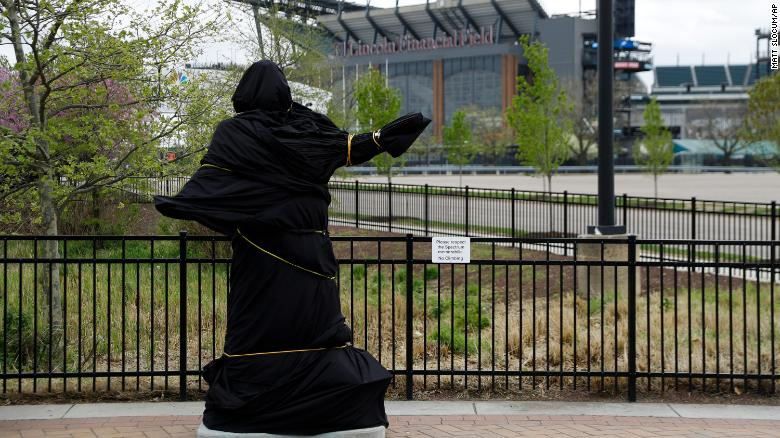 A covered statue of singer Kate Smith is seen near the Wells Fargo Center on April 19 in Philadelphia.