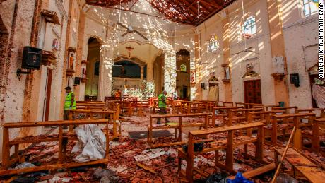 8b0cf20fcca A view of St. Sebastian's Church damaged in blast in Negombo, north of  Colombo