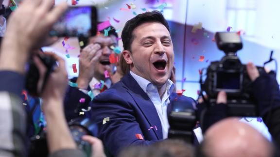 Ukrainian comedian and actor Volodymyr Zelensky celebrated a landslide victory in the country's presidential election on Sunday.