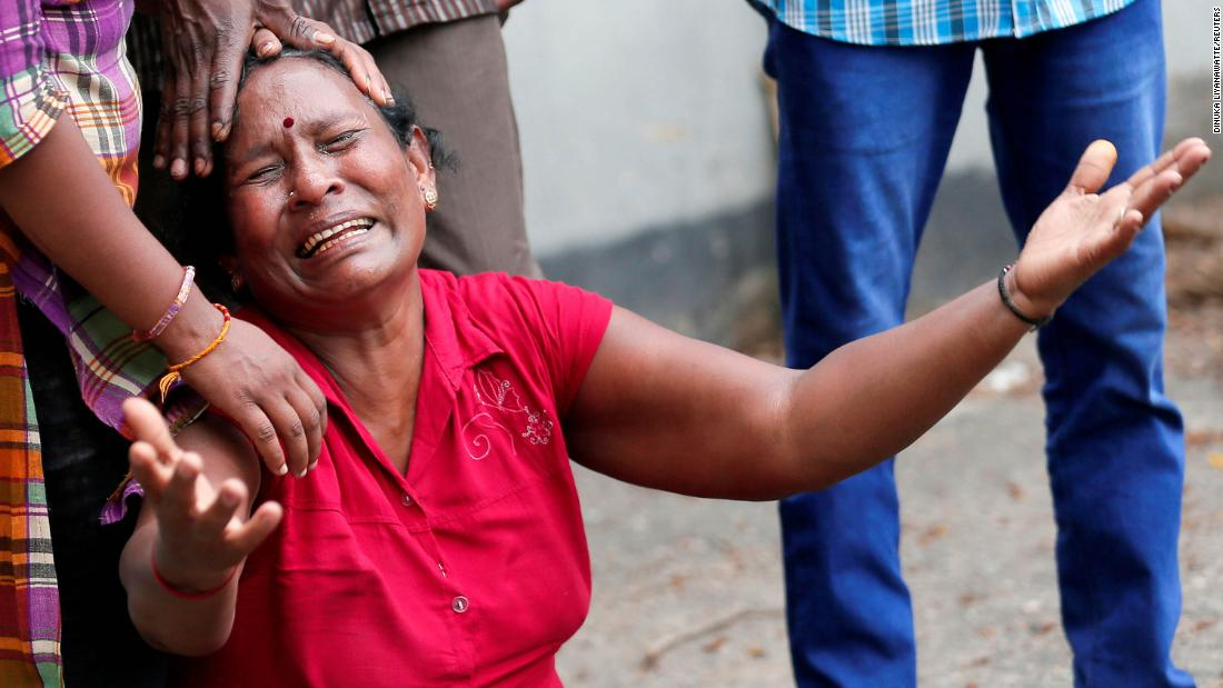 A woman is in tears after a deadly bomb blast at St. Anthony's Shrine in Sri Lanka's capital, Colombo, on Sunday.