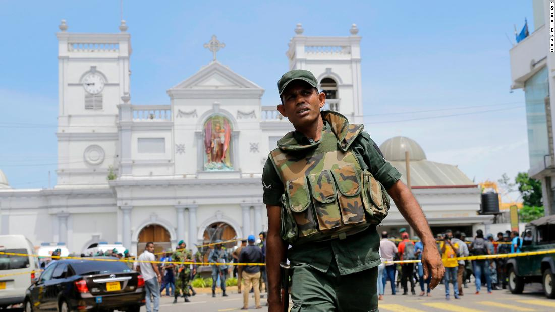 Soldiers secure the area around St. Anthony's Shrine.