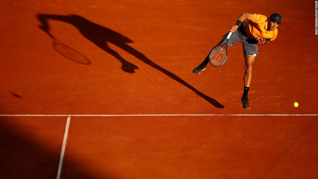 "Borna Coric of Croatia serves to Fabio Fognini of Italy in their quarterfinal match during day six of the Rolex Monte-Carlo Masters on Friday, April 19, in Monte-Carlo, Monaco. Fognini would go on to <a href=""https://www.cnn.com/2019/04/20/tennis/rafael-nadal-fabio-fognini-monte-carlo-masters-spt-intl/index.html"" target=""_blank"">defeat Rafael Nadal in the semifinals</a>."