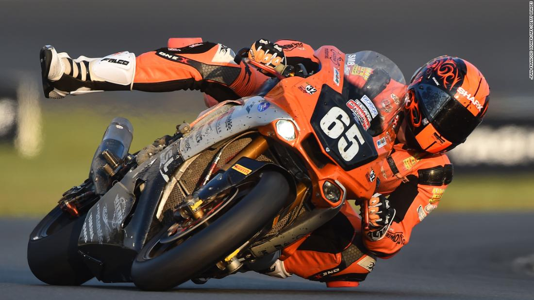 French Yamaha rider Gregory Ortiz competes during the 42nd Le Mans 24-hour endurance moto race, on Saturday, April 20.