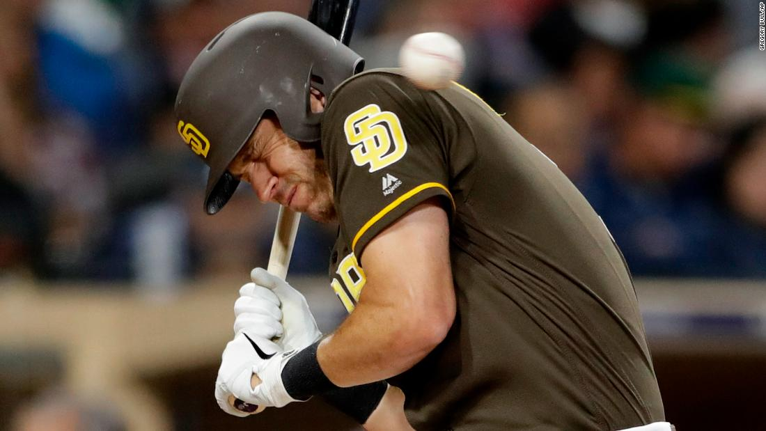 San Diego Padres' Ian Kinsler dodges an inside pitch during the fifth inning of a baseball game against the Cincinnati Reds in San Diego on Friday, April 19.