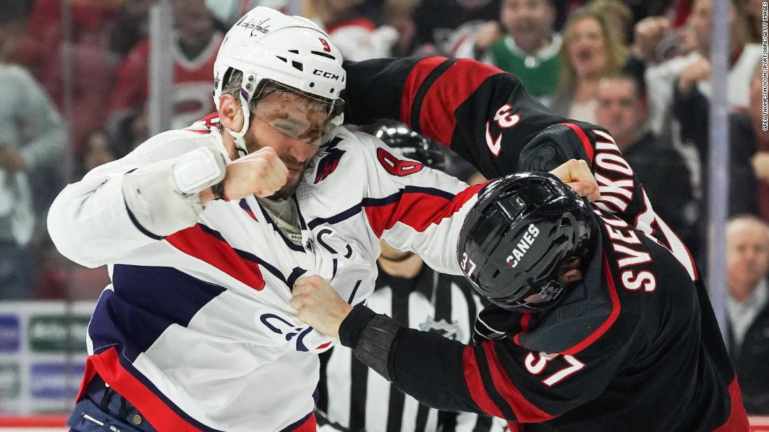 "Alex Ovechkin of the Washington Capitals, left, and Andrei Svechnikov of the Carolina Hurricanes fight during Game 3 of their first-round playoff series on Monday, April 15 at PNC Arena in Raleigh, North Carolina. Ovechkin knocked out Skevchnikov during the fight, who had to leave the game and <a href=""https://bleacherreport.com/articles/2831518-video-capitals-alex-ovechkin-knocks-out-hurricanes-andrei-svechnikov-in-fight"" target=""_blank"">enter the NHL's concussion protocol</a>."