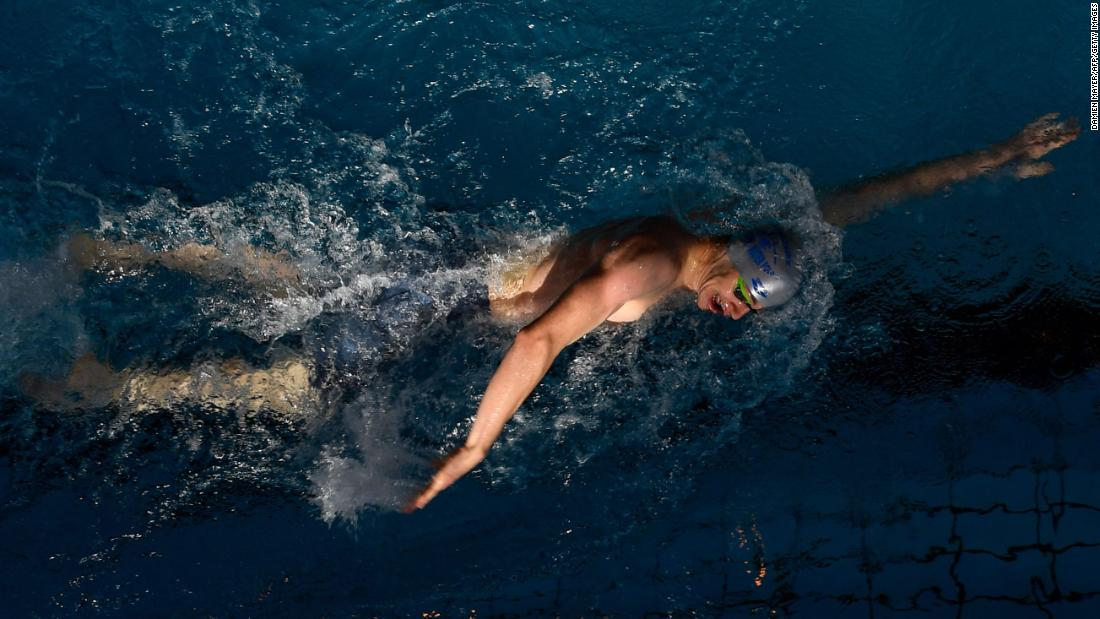 Nathanael Soulard of France competes in the 400m freestyle event during the French swimming championships in Rennes, France on Sunday, April 21.