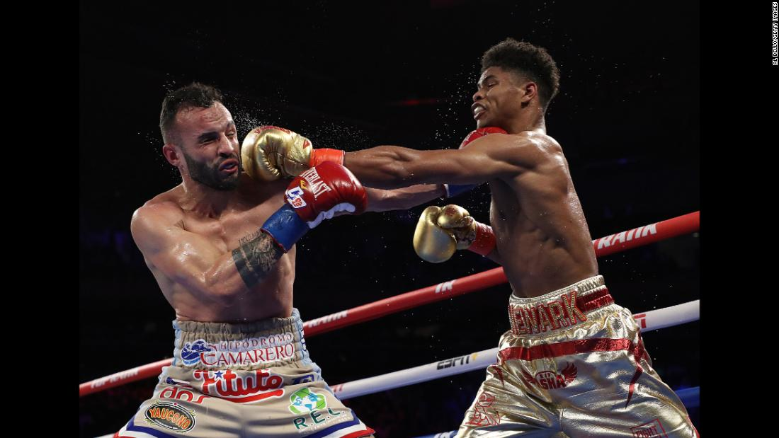 Shakur Stevenson, right, trades punches with Christopher Diaz during their featherweight bout at Madison Square Garden on Saturday, April 20. Stevenson won a 10-round decision.