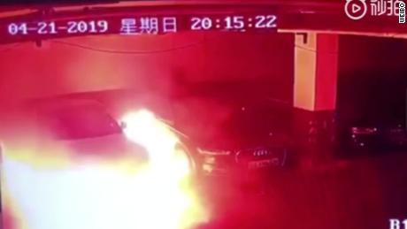 Security camera appears to capture Tesla erupt in flames