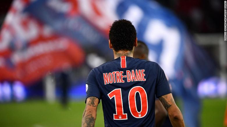 PSG players had their names replaced with 'Notre-Dame.'