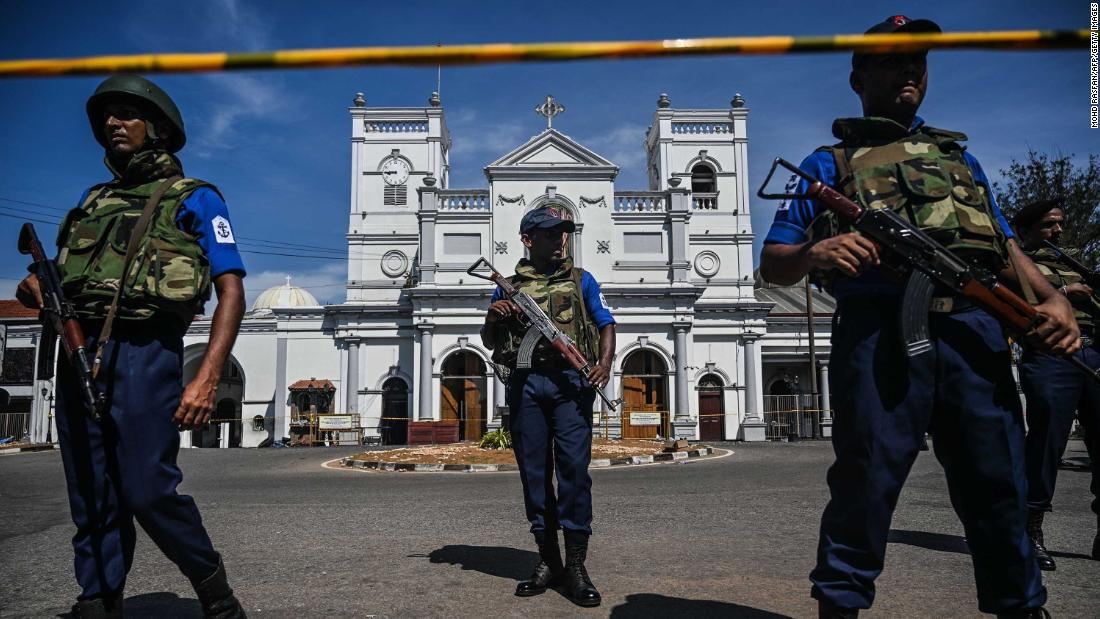 Security personnel stand guard outside St. Anthony's Shrine in Colombo on Monday, April 22, a day after the church was hit in a series of bomb blasts targeting churches and luxury hotels in Sri Lanka.