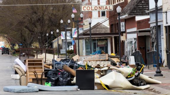 Flood-damaged belongings are piled on the streets of Hamburg as the town tries to clean up.