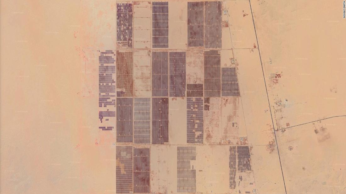 "An aerial view of Benban in construction via Google Earth. Earlier in 2019 other solar farms at the 14-square mile site announced completion, including the 186-megawatt plant by ACCIONA Energía and Enara Bahrain Spv Wll. Sixteen plants funded by the European Bank of Reconstruction and Development aim to contribute <a href=""https://www.ebrd.com/news/2019/first-ebrd-funded-egyptian-solar-plant-begins-generation-.html"" target=""_blank"">750 megawatts</a> of the total output capacity."