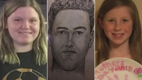 Libby German, left, suspect sketch, center, and Abby Williams, right.