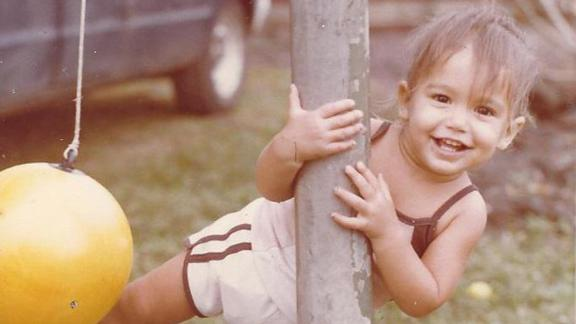 A young Gabbard plays in Tafuna, American Samoa. She and her family moved to Hawaii in 1983.