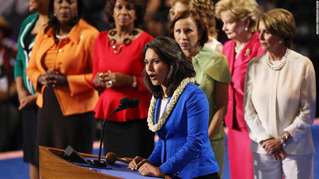 Gabbard speaks on stage at the Democratic National Convention in September 2012. At the time, she was running for Congress.