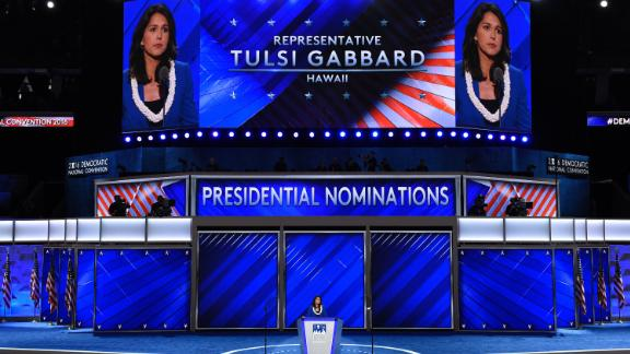 Gabbard speaks at the Democratic National Convention in July 2016.