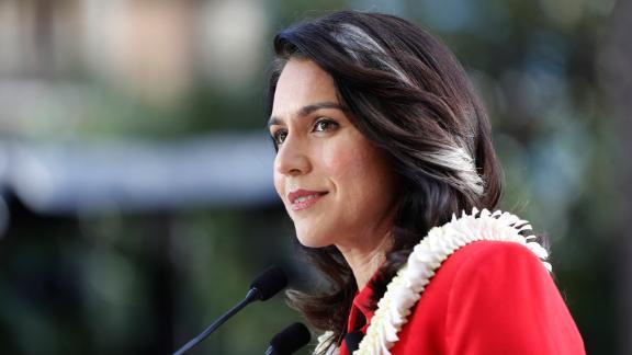 Gabbard announces her presidential run in February 2019.