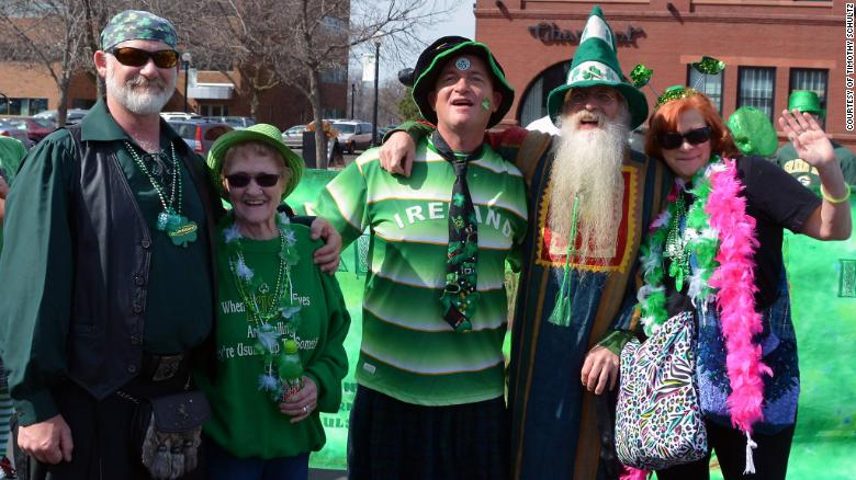 Ellen Karpas, second from left, with her family at a 2016 St. Patrick's Day parade.