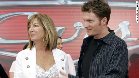 NASCAR driver Dale Earnhardt Jr, right, and his mother Brenda Jackson arrive at a movie premiere in 2006.