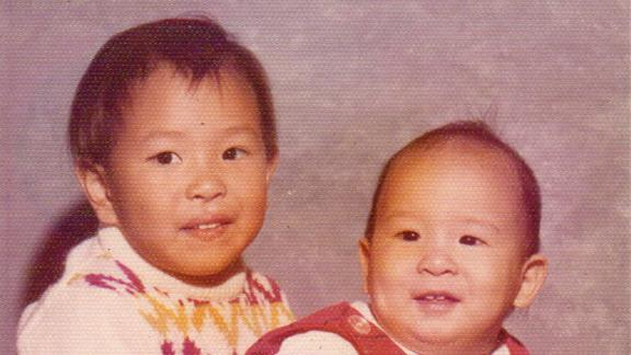 Yang and his brother in another childhood photo.