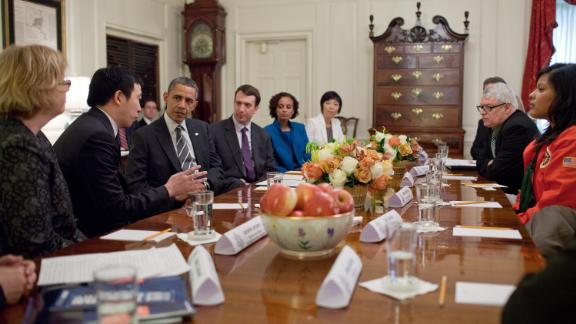 Obama meets with Yang and other Champions of Change at the White House. In 2015, Obama named Yang an ambassador for global entrepreneurship.