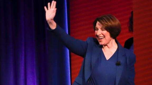 U.S. Senator and Democratic presidential hopeful Amy Klobuchar is seen during a live CNN Town Hall moderated by Chris Cuomo at Saint Anselm College on Monday, April 22, 2019, in Manchester, N.H. Elijah Nouvelage for CNN