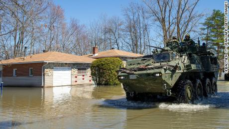 The Canadian Armed Forces navigate floodwaters in Rigaud in the suburbs of Montreal, Quebec.