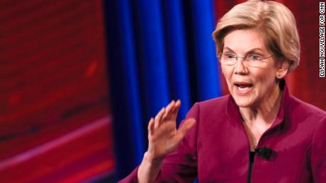 U.S. Senator and Democratic presidential hopeful Elizabeth Warren is seen during a live CNN Town Hall moderated by Anderson Cooper at Saint Anselm College on Monday, April 22, 2019, in Manchester, N.H. Elijah Nouvelage for CNN