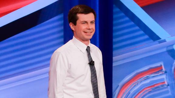 South Bend Mayor and Democratic presidential hopeful Pete Buttigieg is seen during a live CNN Town Hall moderated by Anderson Cooper at Saint Anselm College on Monday, April 22, 2019, in Manchester, N.H. Elijah Nouvelage for CNN