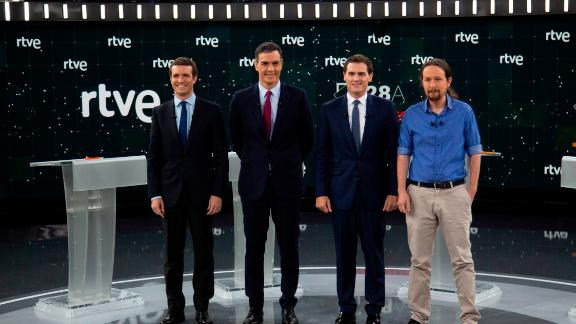 MADRID, SPAIN - APRIL 22: (L-R) People's Party (PP) party leader Pablo Casado, Spain's Prime Minister and Socialist Party (PSOE) leader Pedro Sanchez, Citizens (Ciudadanos) party leader Albert Rivera and Unidas Podemos (United We Can) party leader Pablo Iglesias attend as candidates for the Spain's general elections to a debate at RTVE studios on April 22, 2019 in Pozuelo de Alarcon, Madrid province, Spain. More than 36 millions Spaniards are called to vote on April 28 in a general election to elect the 350 seats of the Parliament of Spain and the 266 seats of the Senate of Spain. (Photo by Pablo Blazquez Dominguez/Getty Images)