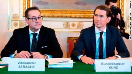 Austrian Chancellor Sebastion Kurz sits next to former Vice Chancellor Heinz-Christian Strache in this file photo.