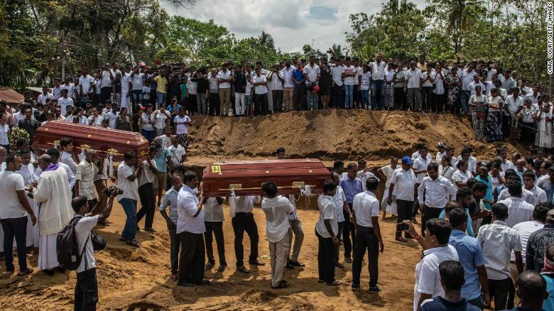 A mass funeral at St. Sebastian Church in Negombo, Sri Lanka, where one of the attacks took place.