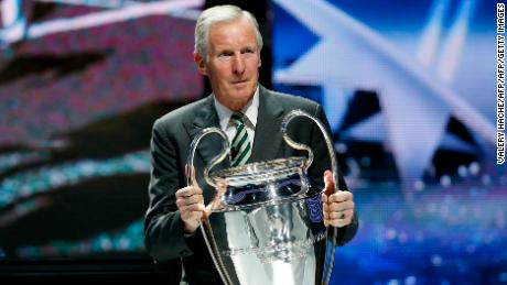 Billy McNeill  with the Champions League trophy during the 2013-14 Champions League group stage draw.
