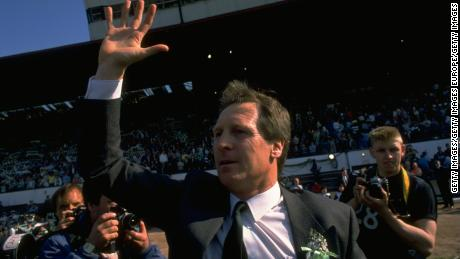 Billy McNeill after securing the league and cup double in Celtic's 1988 centenary season.