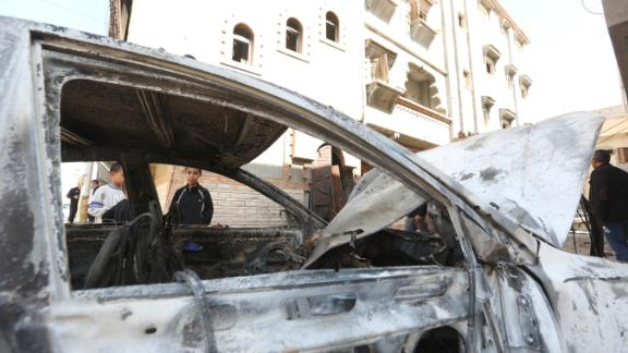TRIPOLI, LIBYA - APRIL 17: A damaged vehicle is seen after East Libya-based forces led by commander Khalifa Haftar carried out rocket attacks at the Abu Salim neighborhood in Tripoli, Libya on April 17, 2019.  (Photo by Hazem Turkia/Anadolu Agency/Getty Images)