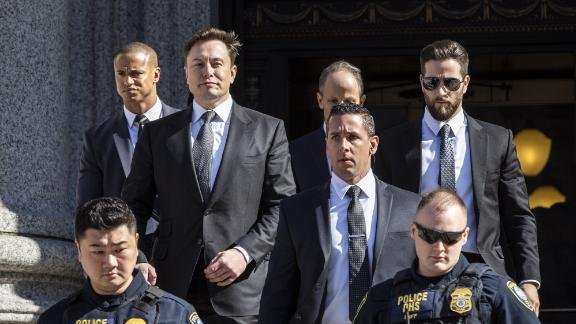 Elon Musk, chief executive officer of Tesla Inc., departs from federal court in New York, U.S., on Thursday, April 4, 2019. Photographer: Natan Dvir/Bloomberg via Getty Images