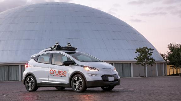 A self-driving car from GM's Cruise has LIDAR sensors on its roof.