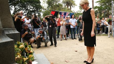 Australian Minister for Foreign Affairs, Julie Bishop lays a wreath at the Redfern Park World War Memorial on April 25, 2018 in Sydney, Australia