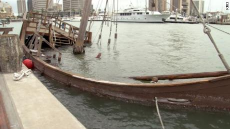 The ship sits underwater at the Corpus Christi marina.