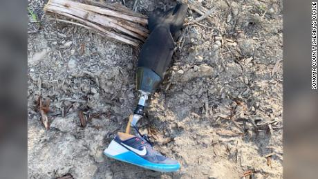 This prosthetic leg was found in a lumber yard on Monday.