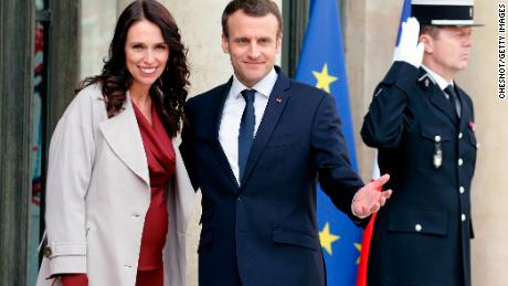 French President Emmanuel Macron welcoming New Zealand Prime Minister Jacinda Ardern to a meeting last year in Paris.