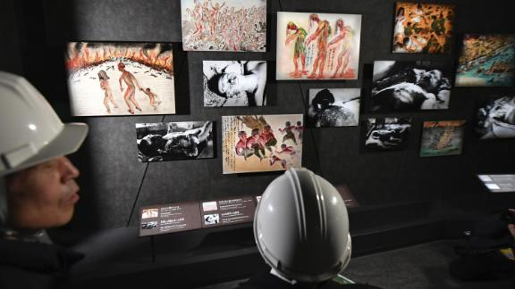 Photo taken at the main building of the Hiroshima Peace Memorial Museum on March 8, 2019, shows pictures and drawings related to the victims of the August 1945 U.S. atomic bombing of the western Japan city. These items will be displayed to the general public on April 25, 2019, when the museum's main building is set to reopen following two years of renovation. (Kyodo) ==Kyodo (Photo by Kyodo News via Getty Images)