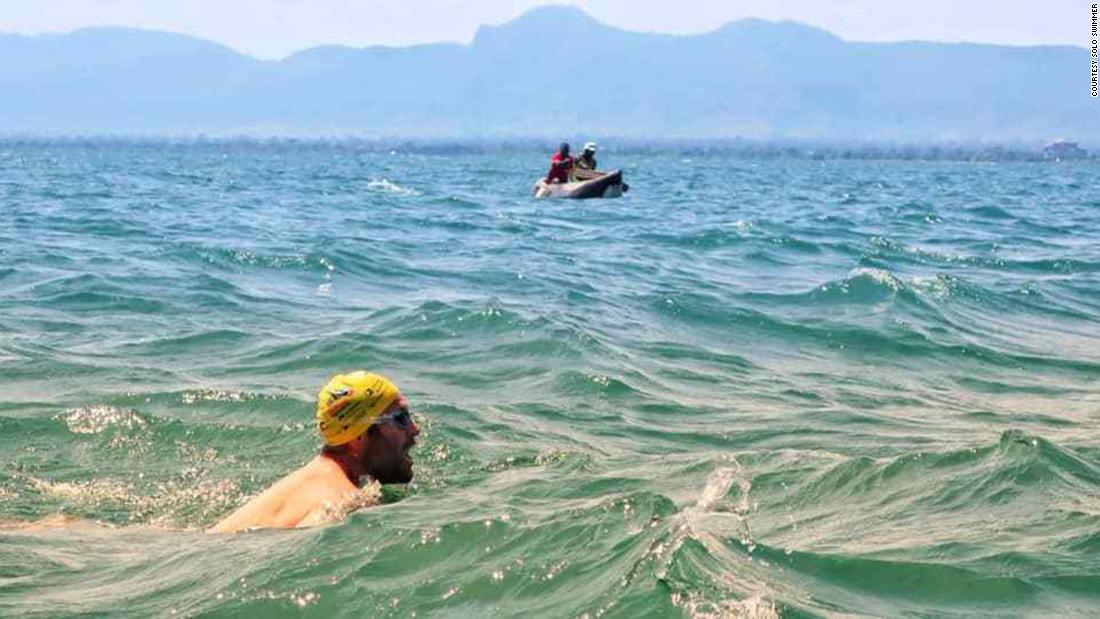 He swam for 54 days across crocodile-infested Lake Malawi to break two world records