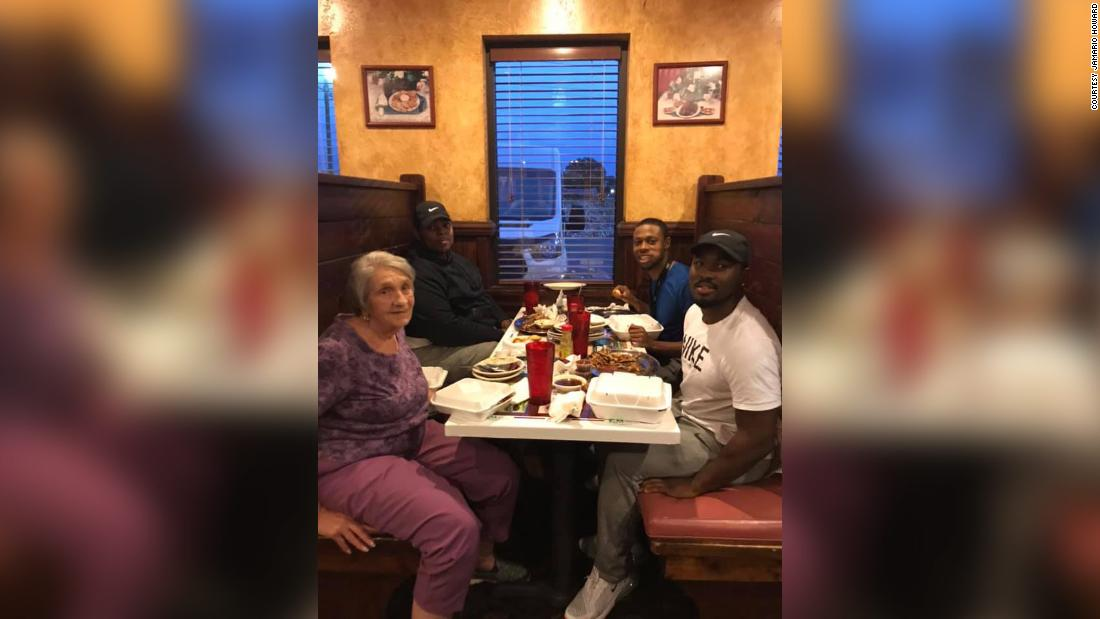 3 men invited a widow to sit with them when they saw her eating alone. Their Facebook post went viral.