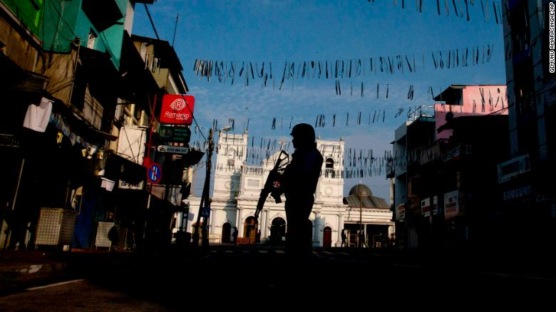 A security officer stands guard outside St. Anthony's Shrine where bombing was carried out on Easter Sunday, in Colombo.