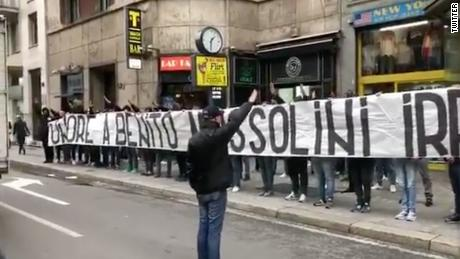 "Lazio fans hold a banner that reads ""Honor to Benito Mussolini"" in Milan."