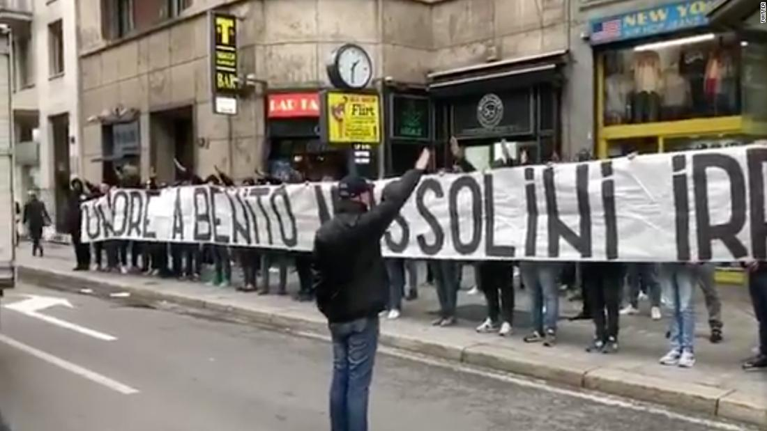 Lazio fans hang pro-Mussolini banner, make fascist salutes ahead of Liberation day